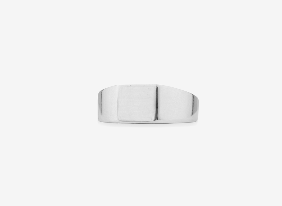 Sebald Small Signet Square Ring, Sterling Silver