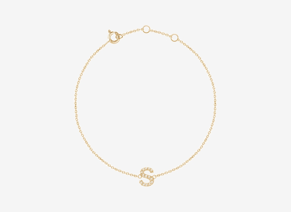 Alphabet Diamond Bracelet - 14ct Yellow Gold