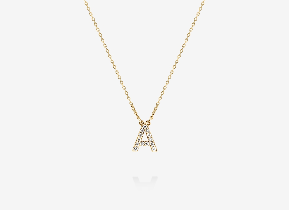 Diamond Alphabet Necklace - 14ct Yellow Gold