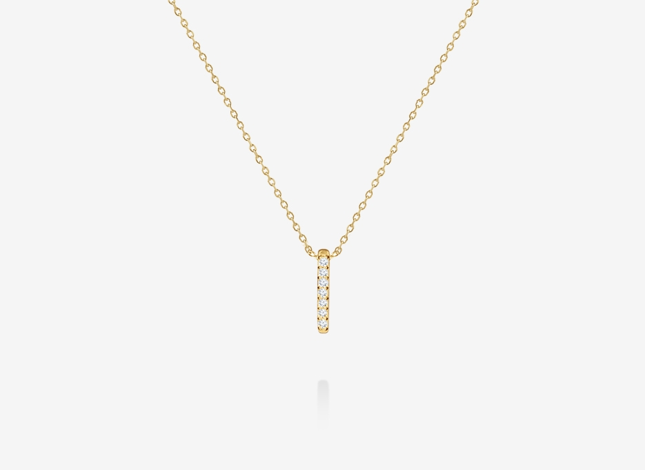 Beulah Diamond Vertical Bar Necklace - 14ct Yellow Gold