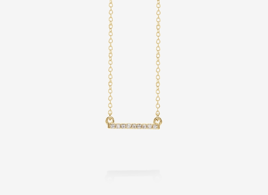 Blanche Small Diamond Bar Necklace - 14ct Yellow Gold