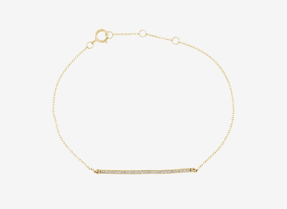 Blanche Diamond Bar Bracelet - 14ct Yellow Gold
