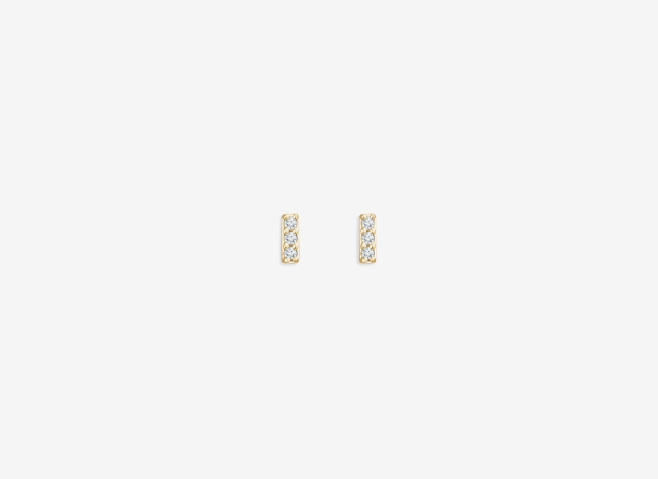 Blanche E Tiny Diamond Bar Earrings - 14ct Yellow Gold