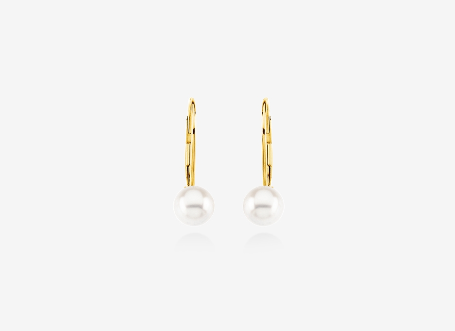 Carina Pearl and Diamond Studs - 7mm Freshwater Cultured Pearl, Diamonds, 14ct Gold