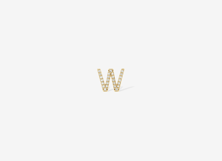 Alphabet Diamond Earring - 14ct Yellow Gold
