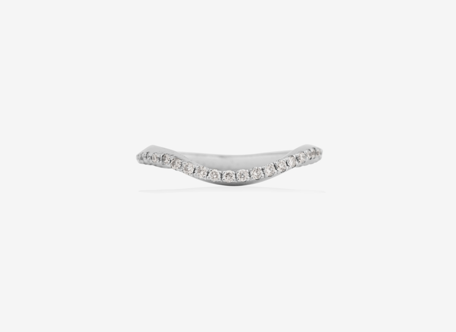 Fluid Slim Wedding Band, White Gold and Diamonds