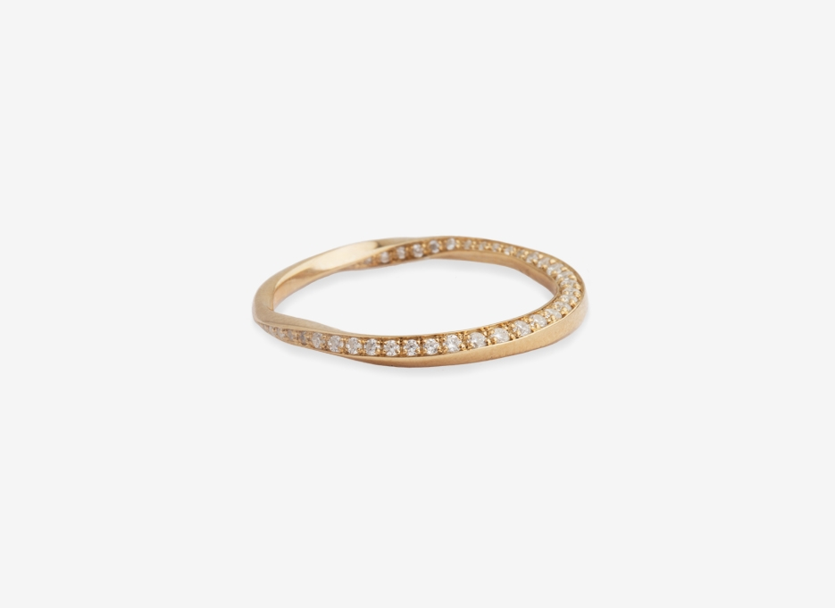 Fluid Wedding Band Ring 2 - Gold and Diamonds