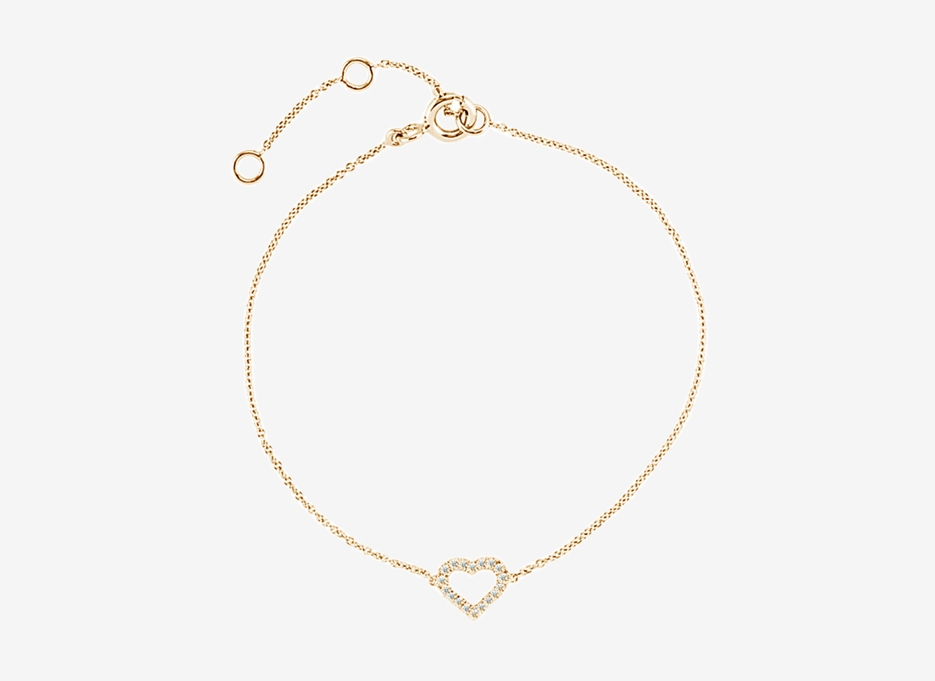 Heart Diamond Bracelet - 14ct Yellow Gold