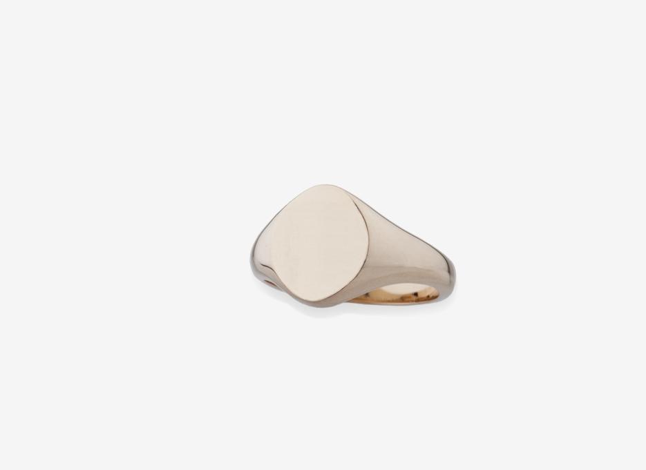 Sebald Small Signet Round Ring, Gold