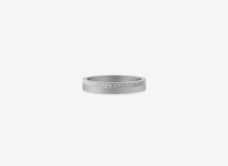 Isherwood Diamond Line 4mm Band, Sterling Silver