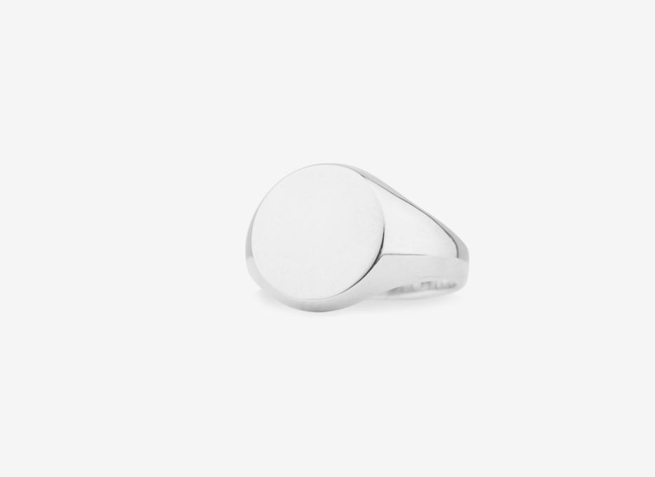 Sebald Signet Round Ring, Sterling Silver