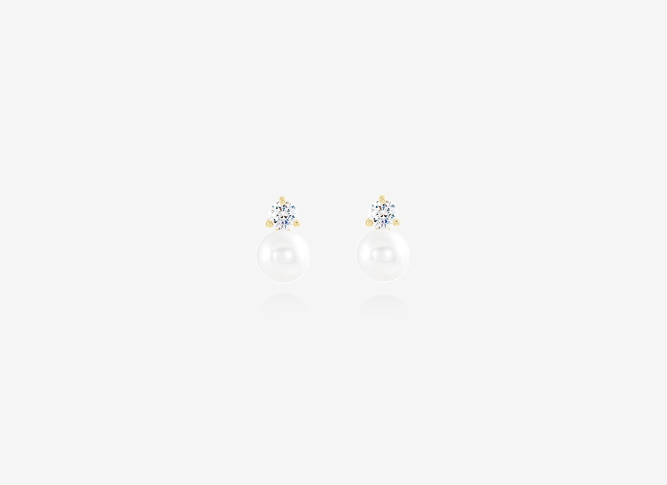 Sho Pearl Earrings - 4mm Freshwater Cultured Pearl, 14ct Gold