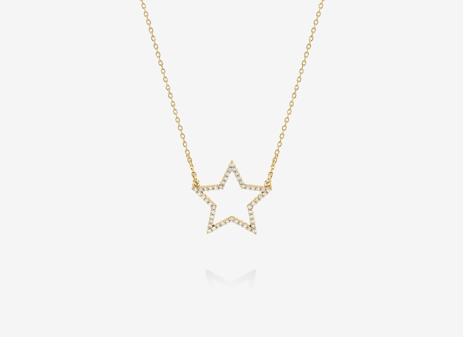 Star Diamond Necklace - 14ct Yellow Gold