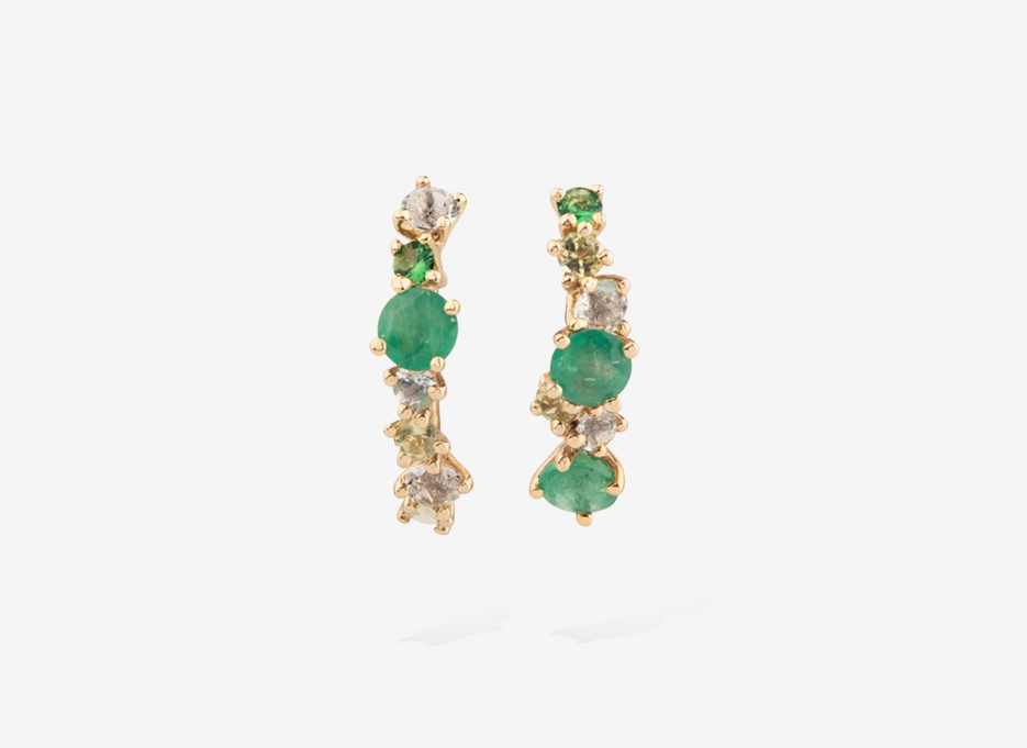 Willowy Bloom Earrings, 9ct Gold, Sapphires and Emeralds