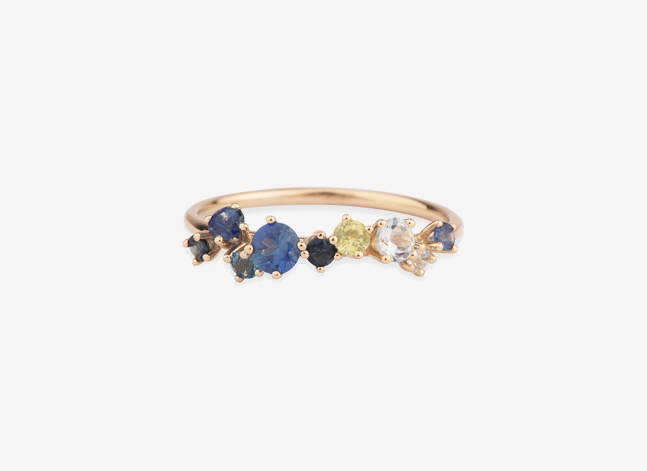 Bloom 9 Stone Ring, 9ct Gold