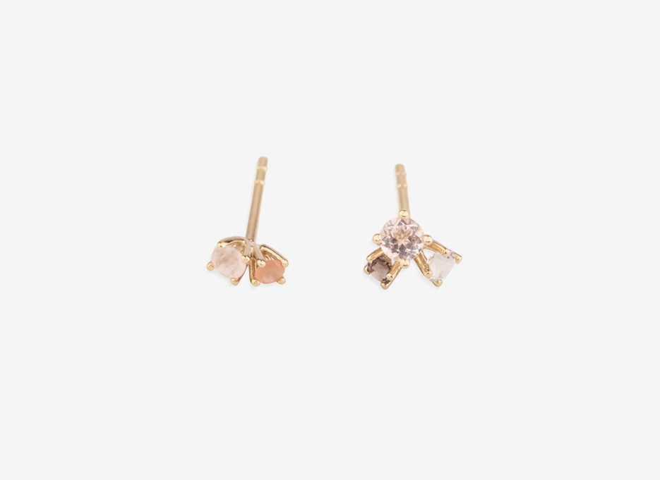 Bloom 3 Stone Earring Pair, 9ct Gold