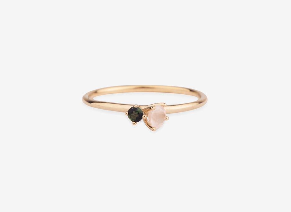 Bloom 2 Stone Ring, 9ct Gold